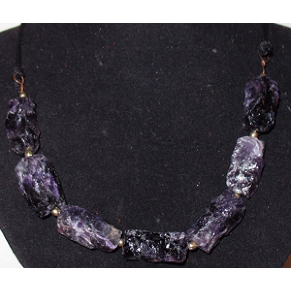 Cord and Amethyst Necklace