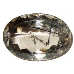 Stunning Oval Cut Faceted Quartz with Tourmaline