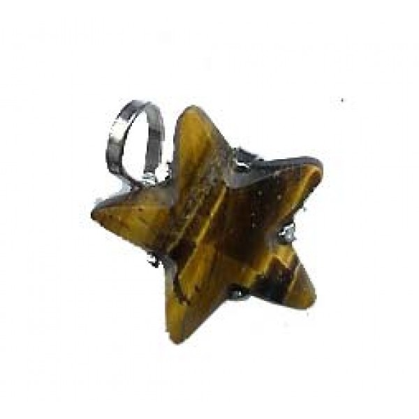Carved Tiger Eye Star Pentacle Pendant