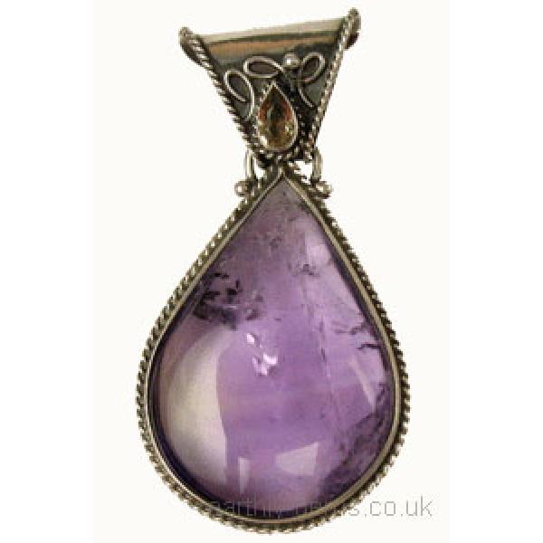 Amethyst Drop and Gemstone Pendant