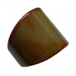 Carved Solid Brown Agate Ring Size S