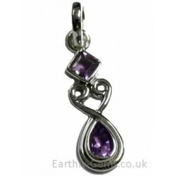 Faceted Amethyst Silver Pendant