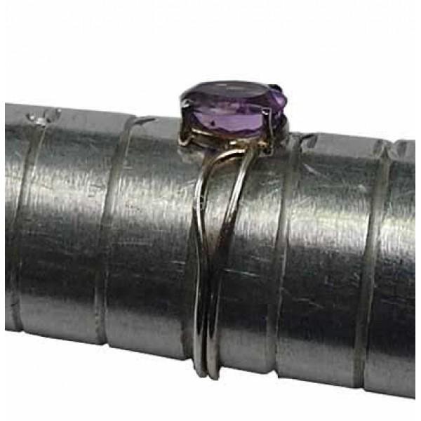 Amethyst Gemstone Silver Ring Size L