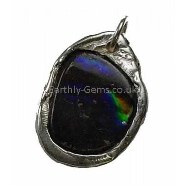 Ammolite Heavy Silver Pendant