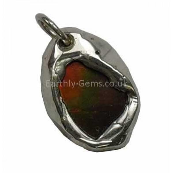 Green and Orange Ammolite Silver Pendant