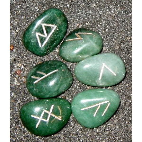 Mini Aventurine Crystal Rune Set