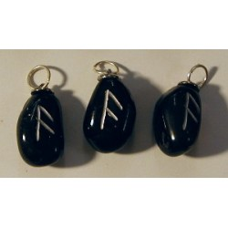 Black Obsidian Leo and Virgo Rune Pendant - Ansuz