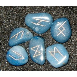 Mini Blue Quartz Crystal Rune Set
