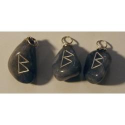 Blue Quartz Pisces and Aries Rune Pendant - Berkano