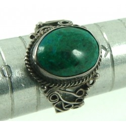 Chrysocolla Gemstone Silver Ring Size M