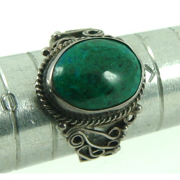 Chrysocolla Gemstone Silver Ring Size M
