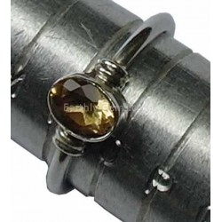 Citrine Gemstone Silver Ring Size N