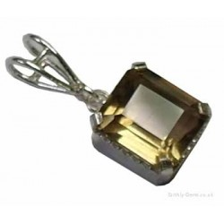 Faceted Smokey Quartz Rectangle Pendant