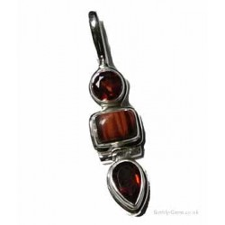 Faceted Garnet and Red Tiger Eye Pendant