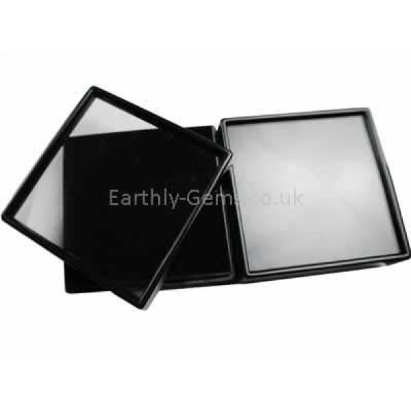 60mm Glass Lid Black Frame Gemstone Display Box White Cotton Insert