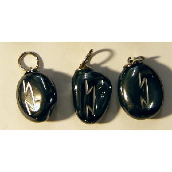 Hematite Capricorn and Aquarius Rune Pendant - Pertho