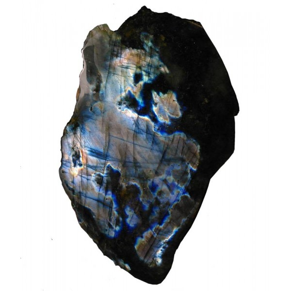 Silvery Blue and Gold Labradorite Polished Surface