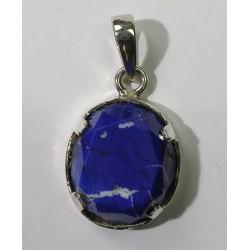 Lapis Lazuli Faceted Cabochon Silver Pendant