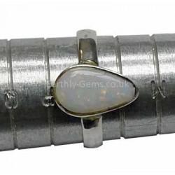 Drop Shape Opal Silver Ring Size O
