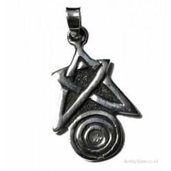 Silver Pentacle Spiral Pendant