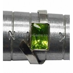 Faceted Peridot Silver Ring Size L