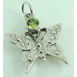 Peridot Silver Butterfly Pendant