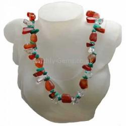 Quartz Agate and Amazonite Necklace