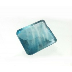 Blue Fluorite Zoned Faceted Gemstone
