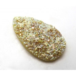Titanium Yellow Coloured Druzy Quartz Drop Shape