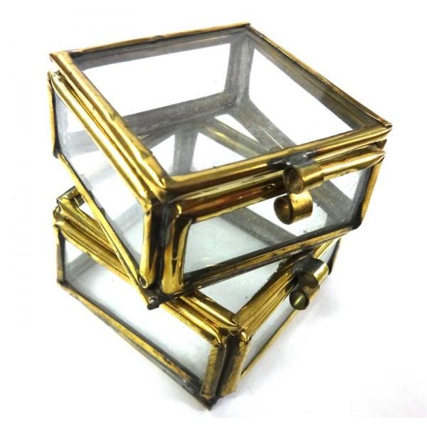 Metal Frame Glass Lid Gift Box x 10