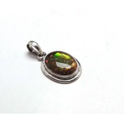 Colourful Ammolite Silver Pendant