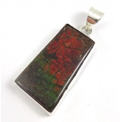 Red Green Ammolite Silver Pendant