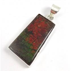 Red Green Ammolite Silver Pendant