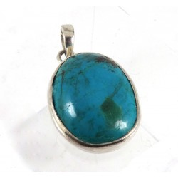 Chrysocolla and Silver Pendant