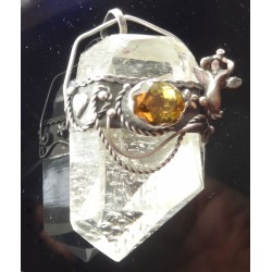 Faceted Citrine Gemstone and Angel on Natural Quartz Point Pendant