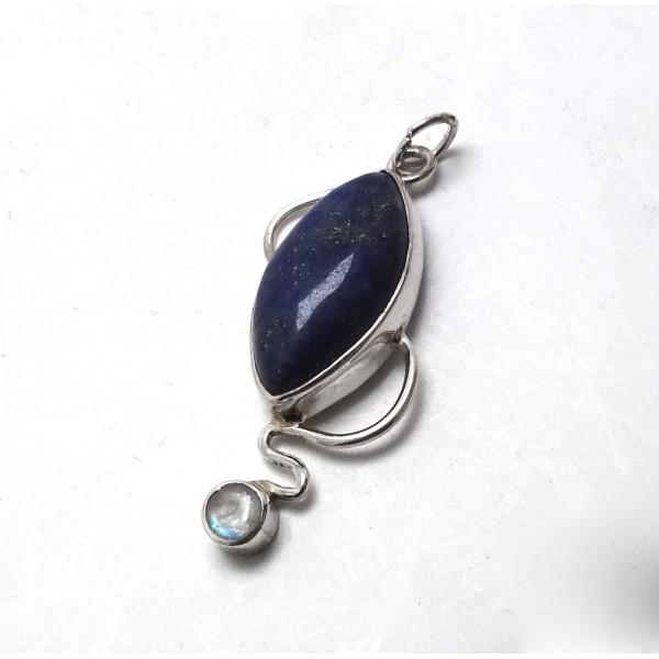 Lapis Lazuli and Rainbow Moonstone Silver Pendant