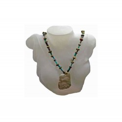 Carved Jade Unakite Turquoise Necklace