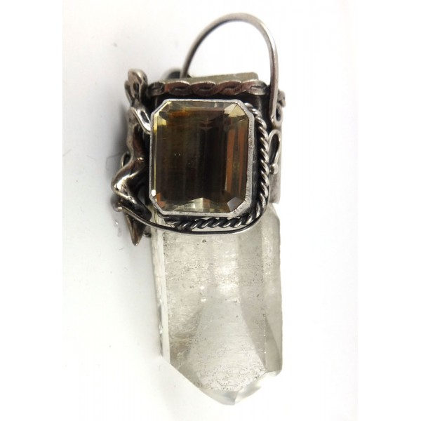 Natural Quartz Point with Citrine Pendant