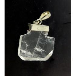 Clear Faden Quartz Silver Pendant