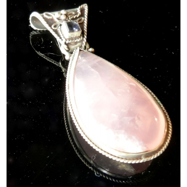 Large Rose Quartz Drop Shape and Gemstone Pendant