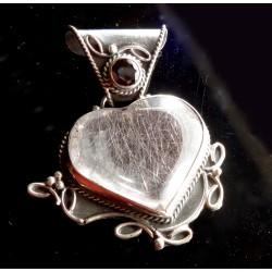 Silver Rutile Clear Quartz Heart with Garnet Gemstone Pendant