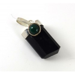 Brazilian Tourmaline and Agate Terminated Pendant