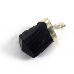 Chunky Natural Black Tourmaline Crystal Pendant