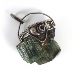 Natural Green and Black Tourmaline Pendant