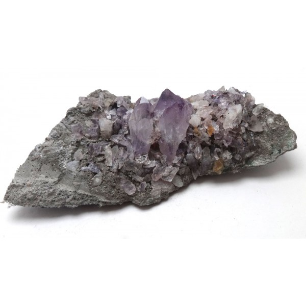 Two Amethyst Crystals on a Bed