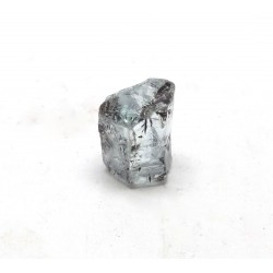 Aquamarine Hexagonal Crystal Section with Black Inclusions