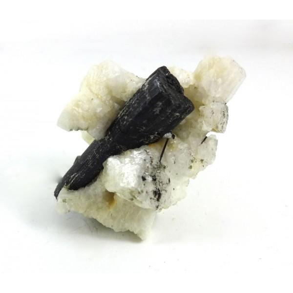Black Tourmaline Crystal Enclosed in Feldspar