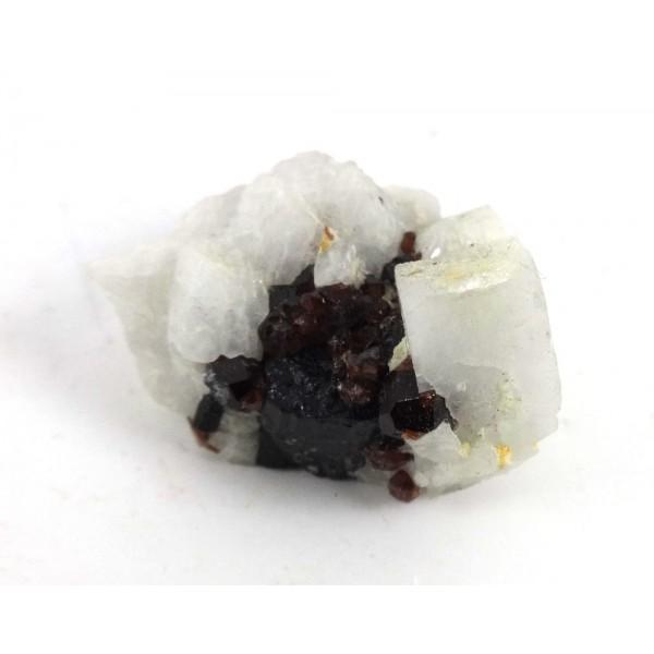 Black Tourmaline Garnet and Feldspar Cluster