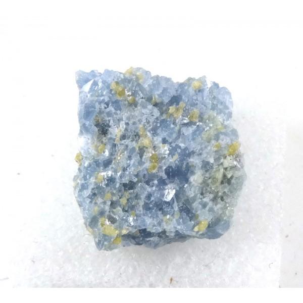 Fluorellestadite on Blue Calcite From USA