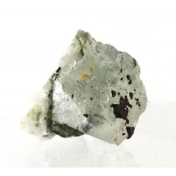 Fluorite Octahedron with Tourmaline Feldspar and Siderite